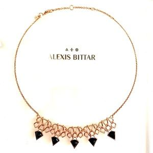 Alexis Bittar Pyramid 5 Stone link necklace Rose